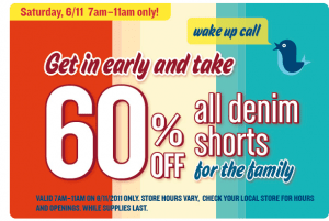 All denim shorts 60% off 6/11 at Old Navy 7-11am only!!