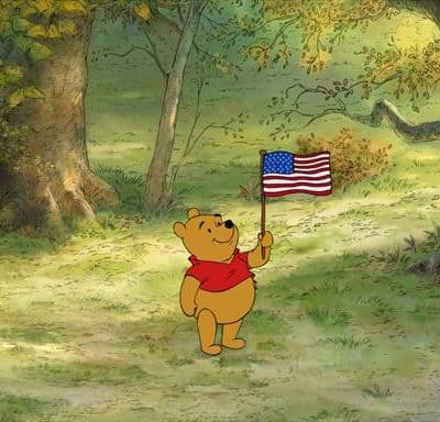 "Happy 4th of July from Winnie the Pooh & MY Piglet ""onscreen"" debut!"