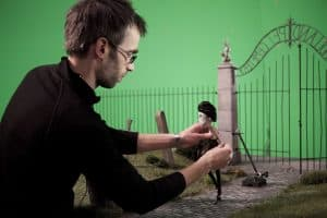 Jens Gulliksen working on cemetary for FRANKENWEENIE