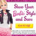 show your barbie style and save $5