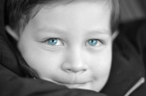black and white photo with blue eyes