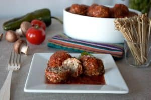 cremini and pork meatballs