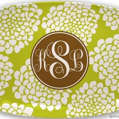 Girl Frenzy Designs Bloom Lime Monogram Platters