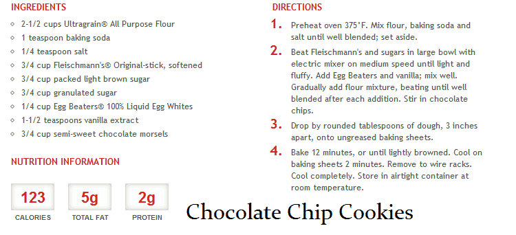 chocolate chip cookies with egg beaters