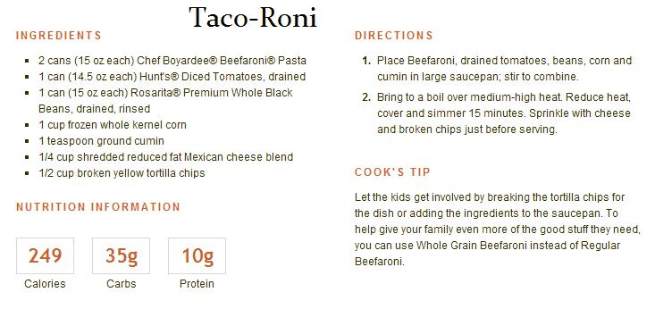 taco roni with chef boyardee beefaroni recipe