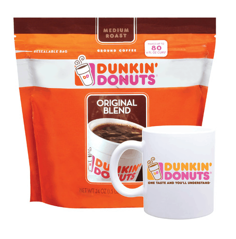 Dunkin Donuts packaged coffee and mug