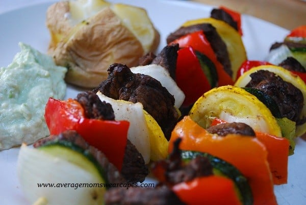 steak and veggie kebabs with avocado dip
