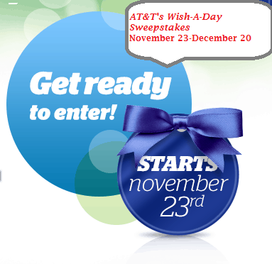 AT&T is granting wishes this holiday season with a Wish-A-Day Sweepstakes! #attwishaday