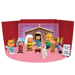 charlie brown mini figure set with fold out christmas stage