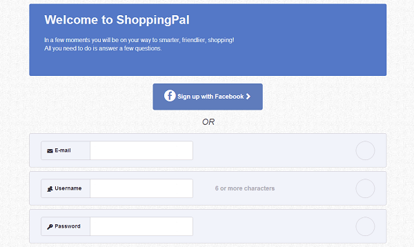 shoppingpal.com signup options