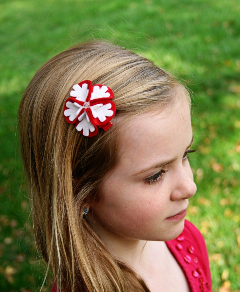 snowflake bloom felt clip the bowtique