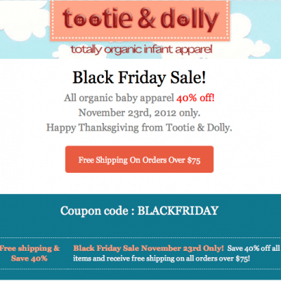 40% off Organic Infant Apparel 1-day BlackFriday Sale