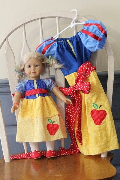 snow white peasant dress with matching doll dress