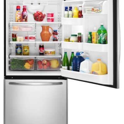 I can fill my fridge with groceries again thanks to our new Amana Bottom-Freezer Refrigerator