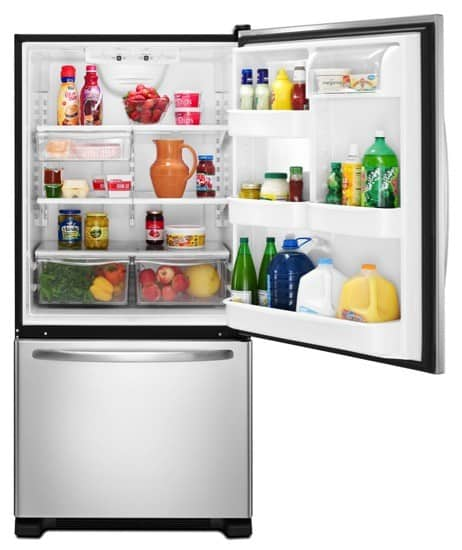 amana 21.9 cubic foot bottom-freezer refrigerator stainless steel filled