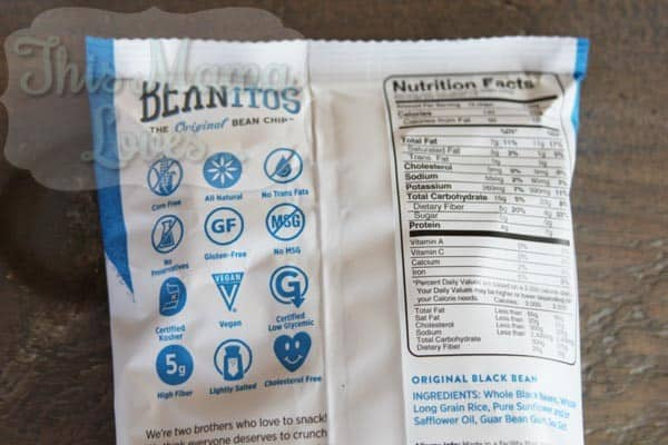 beanitos nutrition facts