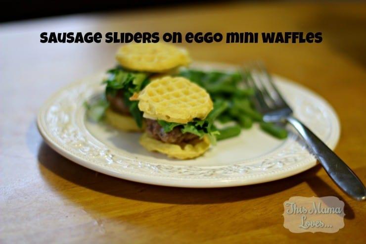 sausage sliders on eggo mini waffles