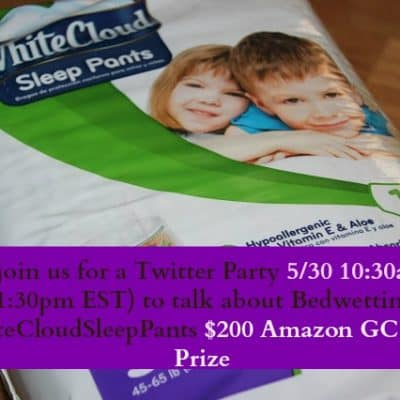 Join me to talk about bedwetting at the  #WhiteCloudSleepPants Twitter Party May 30!