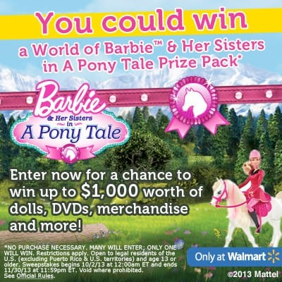Discover the World of Barbie: A Pony Tale ($100 Walmart GC Giveaway)