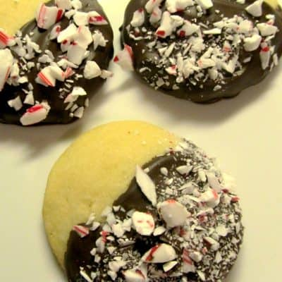12 Days of Christmas Cookies: Chocolate Dipped Peppermint Shortbreads