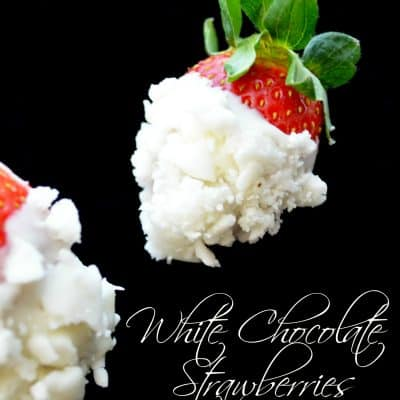 White chocolate strawberries dipped in crumbled soft peppermint candy