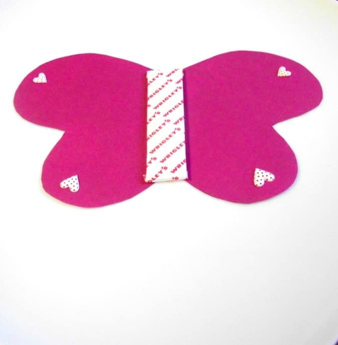 butterfly valentine craft in process