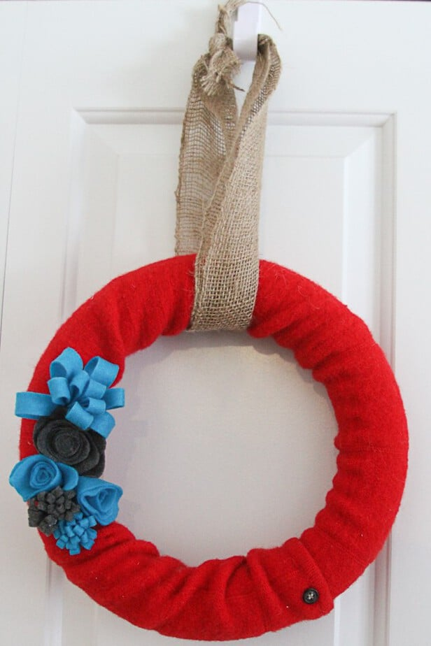 felt flowers on sweater wreath