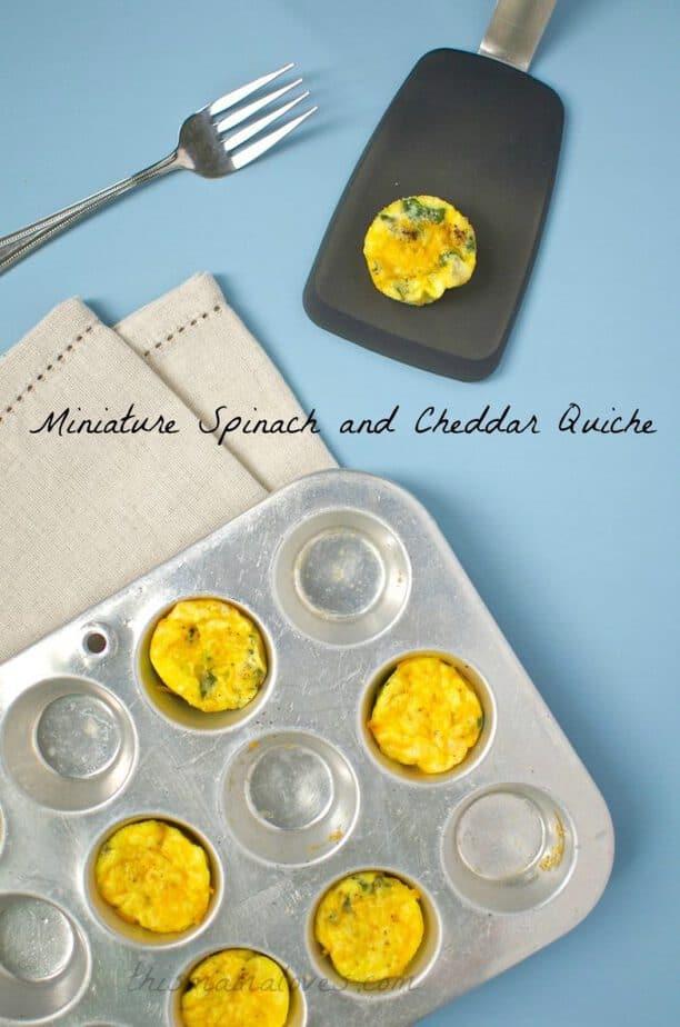 miniature spinach and cheddar quiche recipe