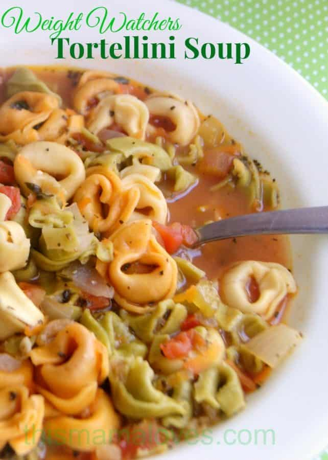 Weight Watchers friendly Tortellini Soup recipe with crock pot instructions as well as stovetop. #simplestart #tortellinisoup #WeightWatchers #weightwatcherssoup #meatlessmonday #meatlessmeals