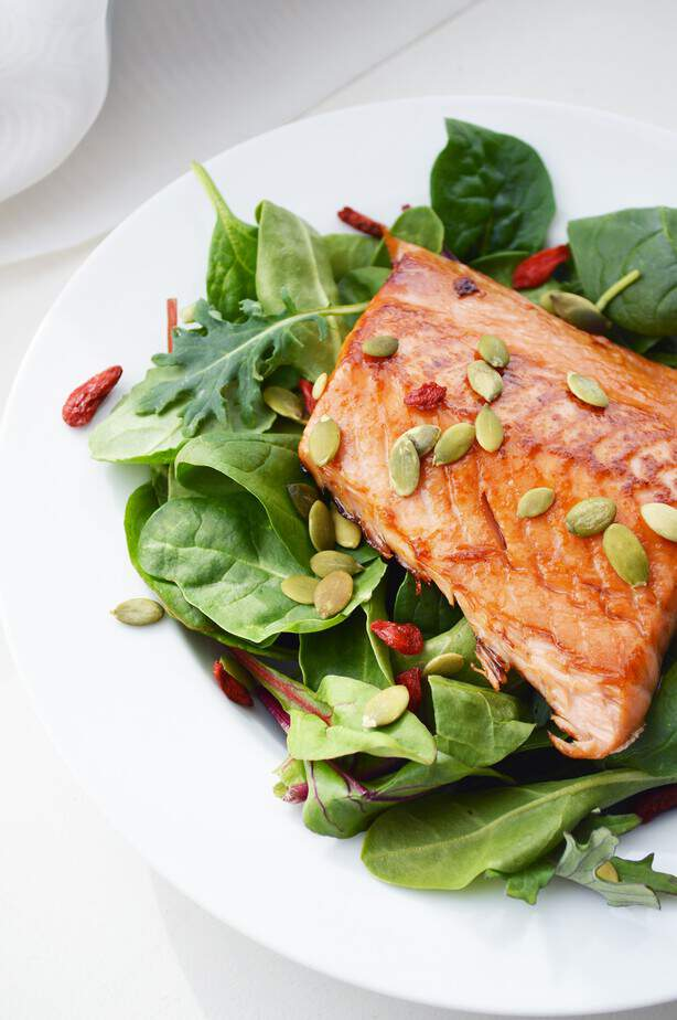 honey glazed salmon on greens