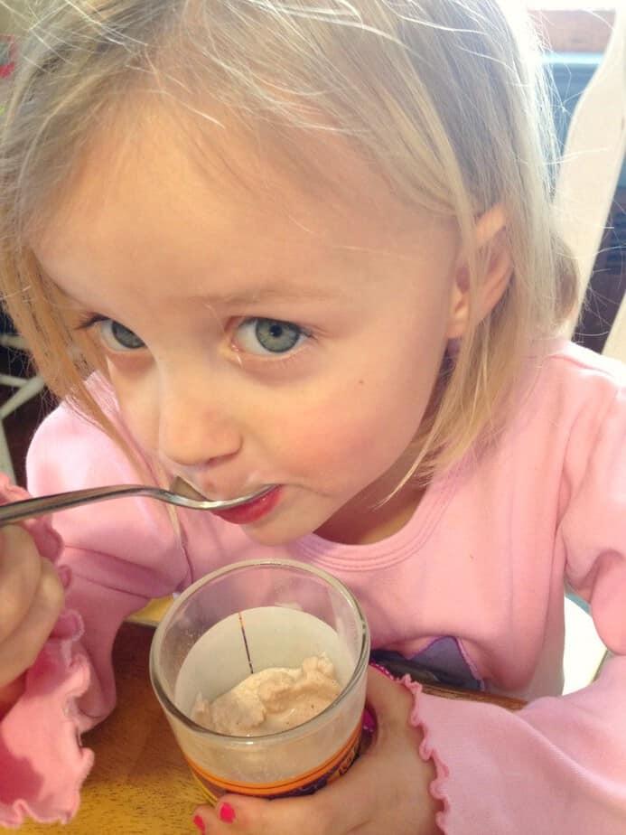 enjoying #trumoo chocolate smoothie recipe for kids