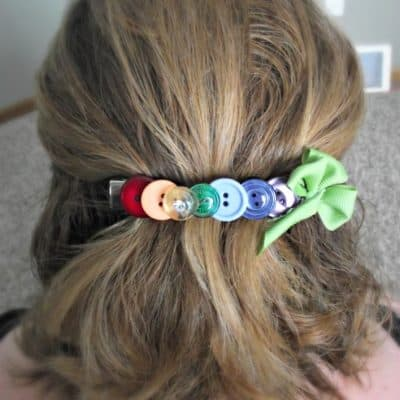 DIY Button Hair Clip for St. Patrick's Day
