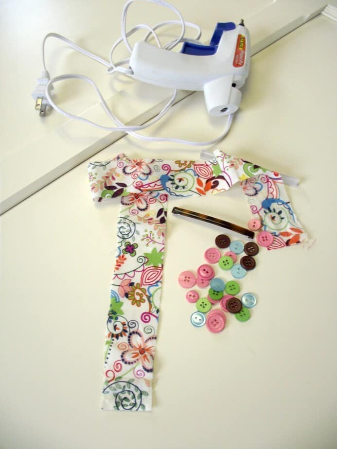 pink button and fabric flower hair clip supplies