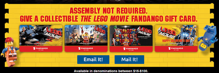 the lego movie fandango gift cards