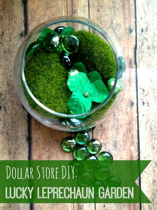 dollar store DIY leprechaun garden finished