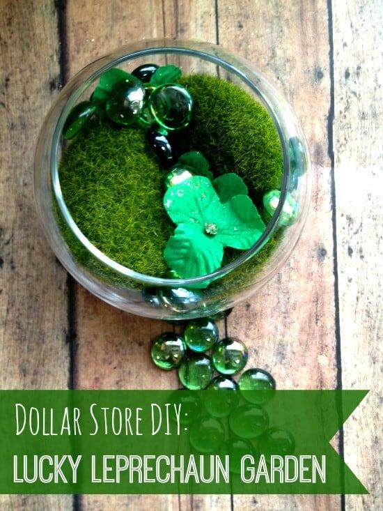 dollar store DIY leprechaun garden finished