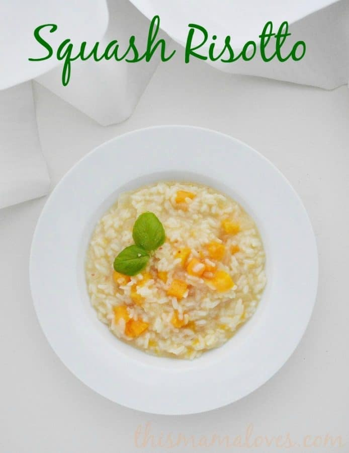 squash risotto recipe in bowl label