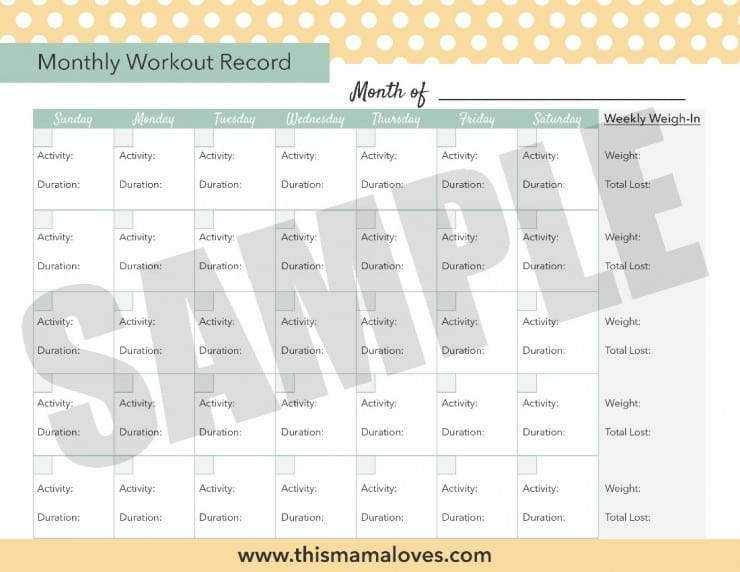 Printable Monthly Workout Tracker