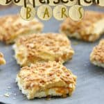 Butterscotch bars recipe labelled
