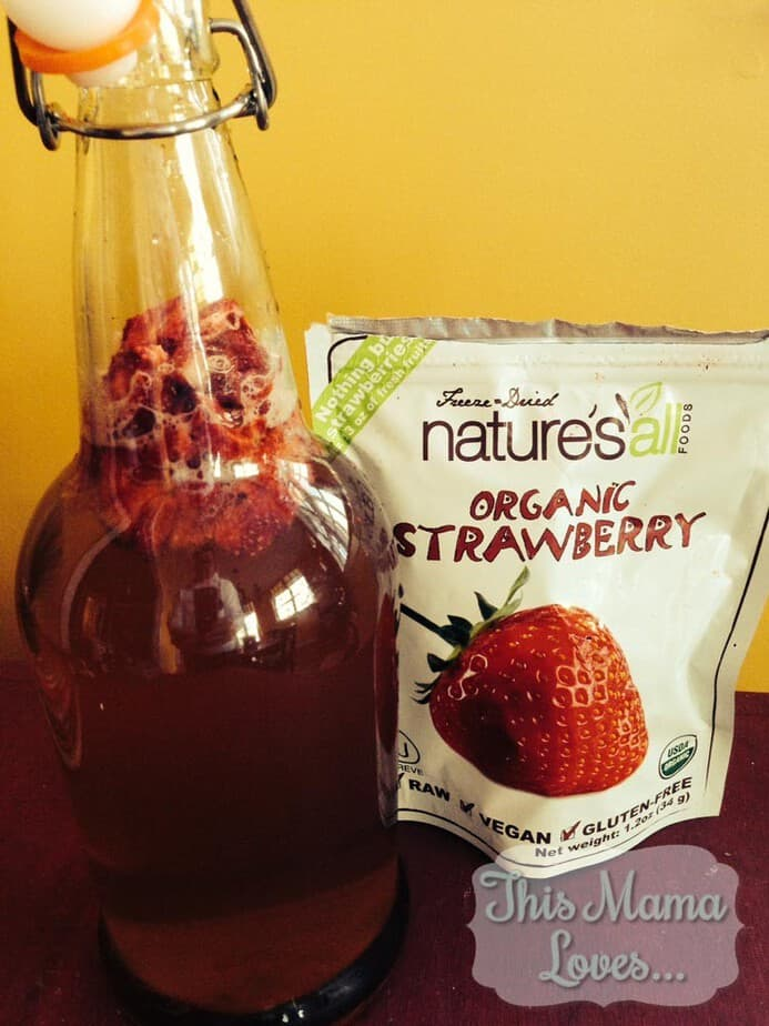 Organic homemade strawberry kombucha recipe