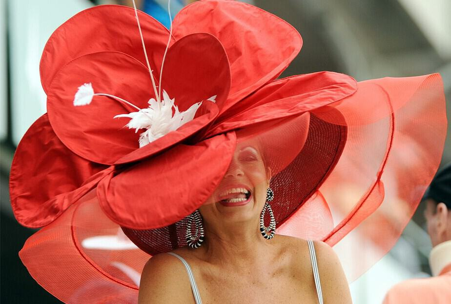 red flower derby hat