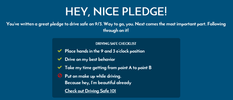 #drivesafetoday-pledge