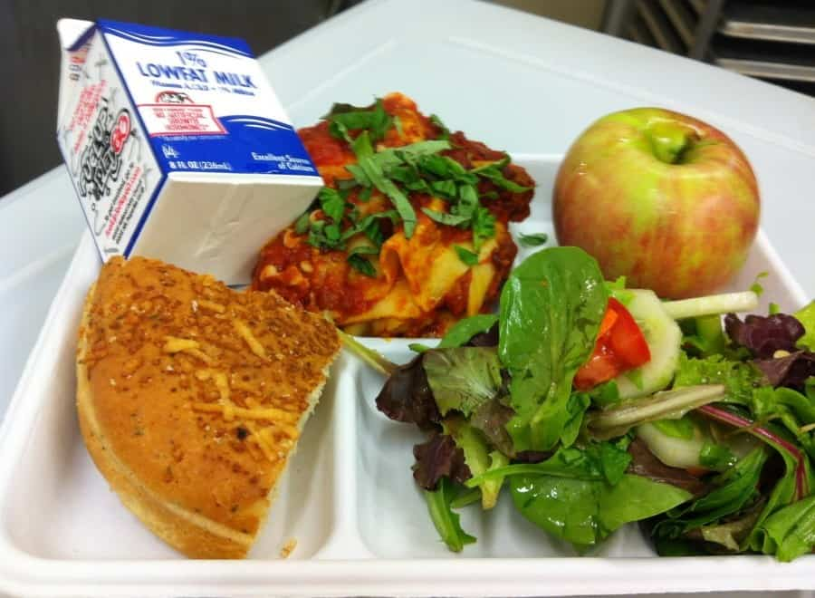 school lunch tray salad