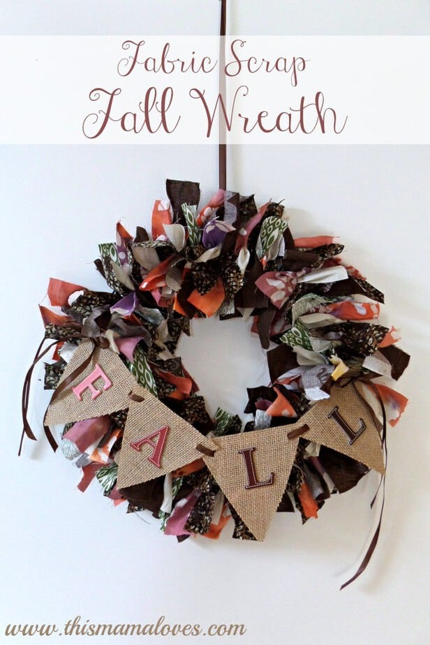 Fabric Scrap Fall Wreath with burlap banner