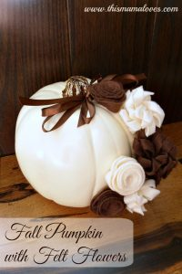 Fall Pumpkin with Felt Flowers