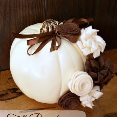 Fall Decor – Pumpkin with Felt Flowers
