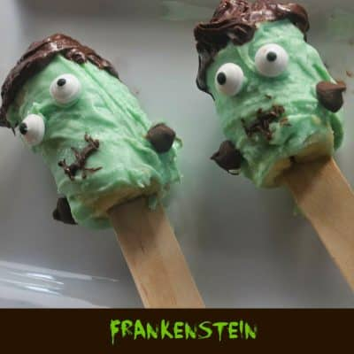 Frankenstein Chocolate Covered Frozen Banana Pops