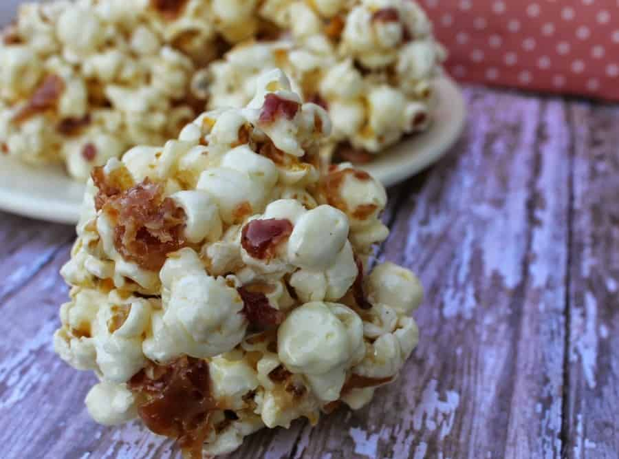 maple bacon popcorn ball horizontal