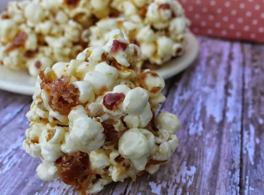 maple bacon popcorn ball horizontal