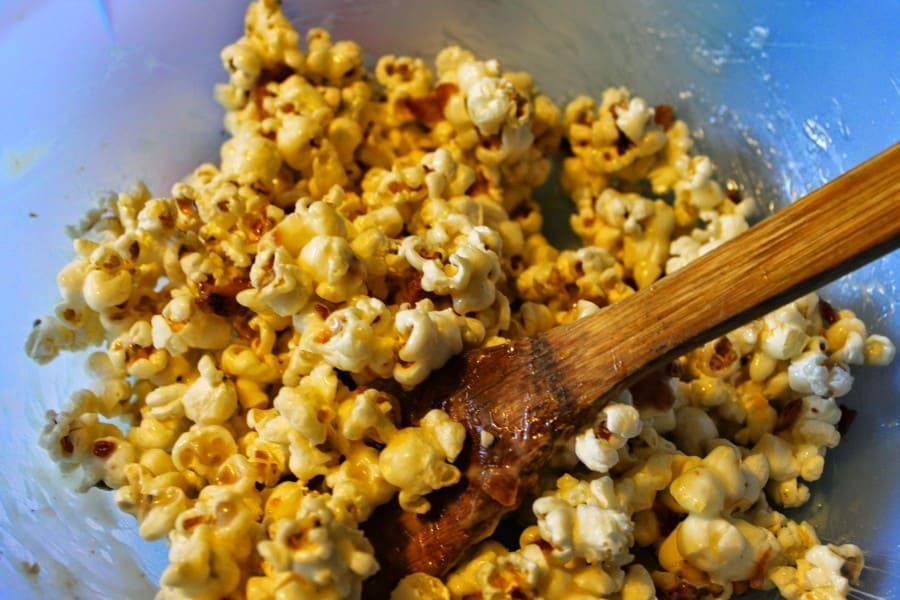 maple bacon popcorn ball stir